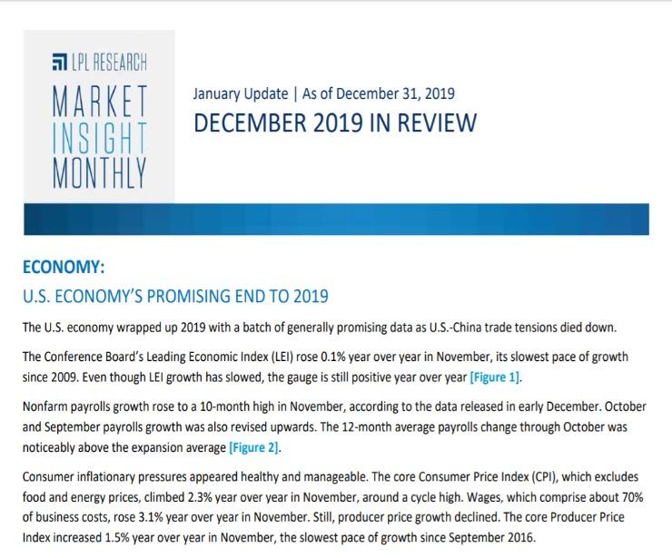 Market Insight Monthly | December 31, 2019