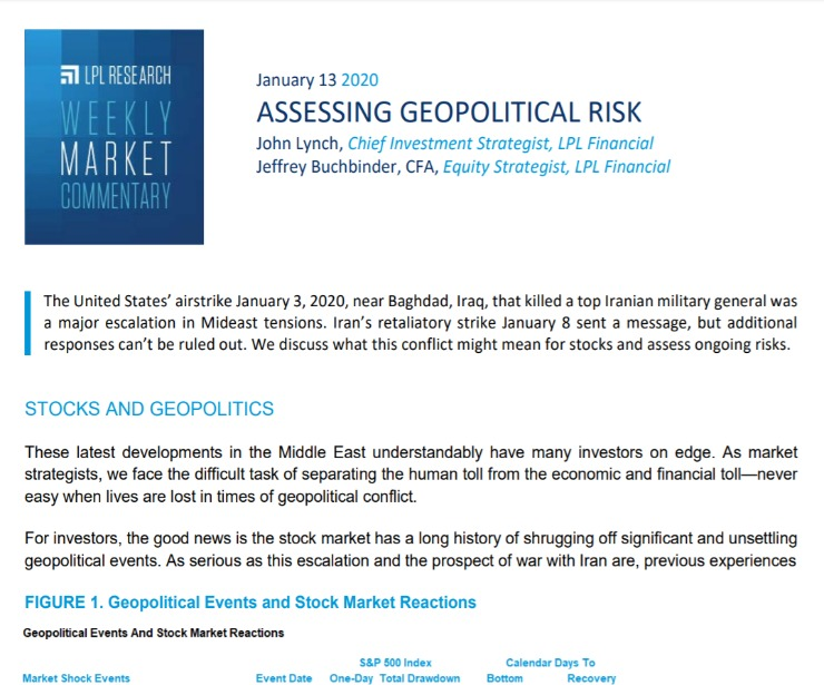 Assessing Geopolitical Risk | Weekly Market Commentary | January 13, 2020