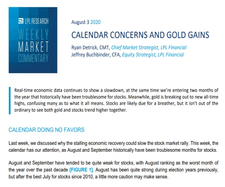 Calendar Concerns and Gold Gains| Weekly Market Commentary | August 3, 2020
